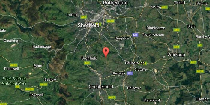 Map of Sheffield fracking area