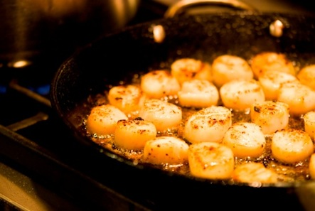 Sizzling scallops.