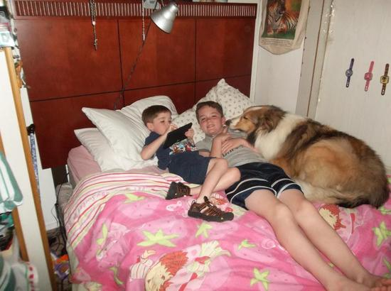 My nephews and dog
