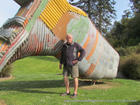 """Me, Allan, by the icon of Taihape, the """"gumboot"""""""