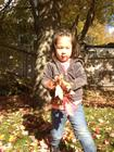 Keira gathering leaves