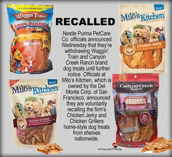 CHICKEN JERKY TREATS RECALLED