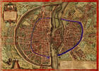 Old-time map of Paris, date not given