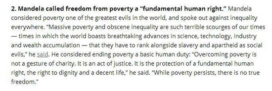 Long Mandela quote on overcoming poverty & inequality