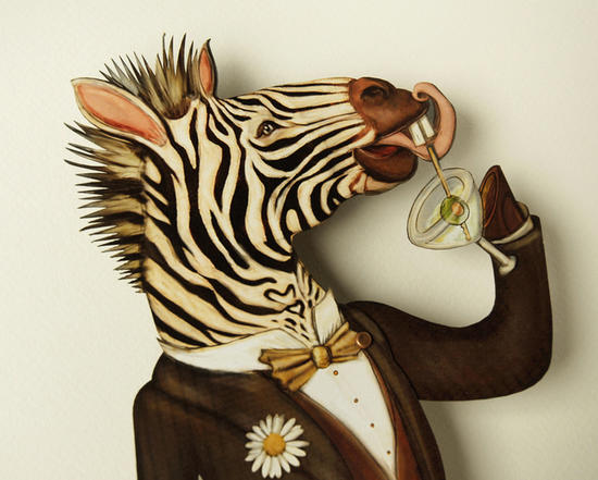 New Years Festive Zebra Drinking Martini Paper Puppet