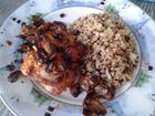 Sauteed Mushroom Fried Chicken with Garlic Brown Rice Quinoa