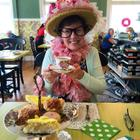 Donning the birthday bonnet at High Tea