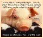 I do not want to die to be your food...