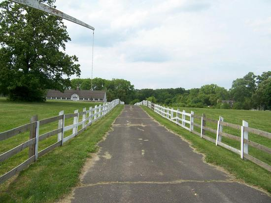 Long driveway leading up to horsefarm