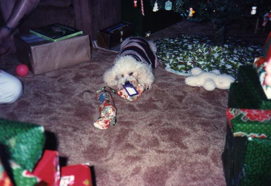 opening his presents 1994.JPG