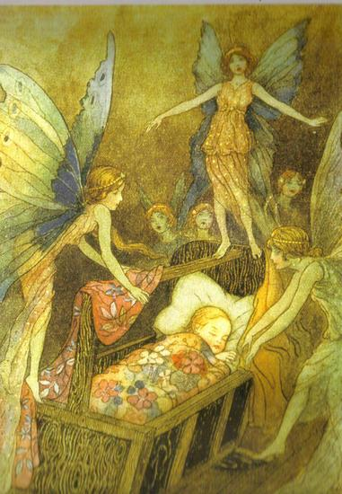 Fairy Art  Fairies Gathered Around a Babys Cot 1920 by Warwick Goble.jpg