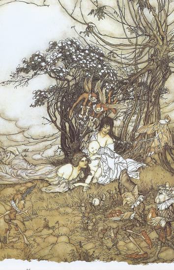 Fairy Art The Guest of Honour A Baby Attended by Sprites and Fairies by Arthur Rackham 1905 86 lbl.jpg