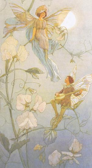 Fairies Midst Sweet Peas by Margaret Tarrant 19 lbl.jpg