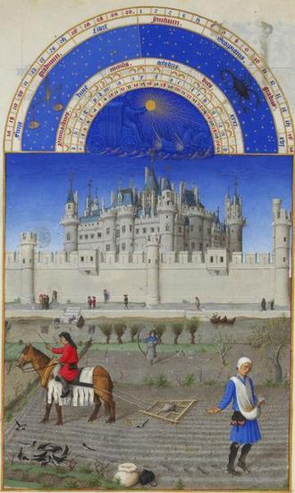 Illuminated Manuscript - October - by the Limbourg brothers, 15th century