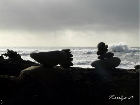 Cairns on Log, Squall coming in
