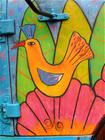 Colourful artwork painted on the door of a coffee truck!