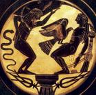 Apollo (atlas) and Peometheus whose heart was picked by an Eagle