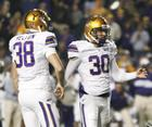 LSU's kicker Josh Jasper 30 and Derek Helton after winning kick in 33-30 OT win over Arkansas