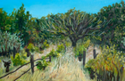 Snail Field with Tree, Oil on Canvas, 11 x 17 in., 2008