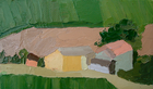 Luberon Valley Farmhouse, 3 x 5 in., Oil on Canvas Board, 2008