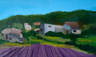 Lavender Fields, Provence, Oil on Canvas Board, 3 x 5 in., 2008