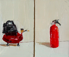 Phil and Shannon, Oil on Canvas Board, 5 x 3 in. (each), 2009