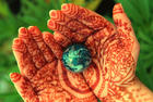 earth day on henna hands