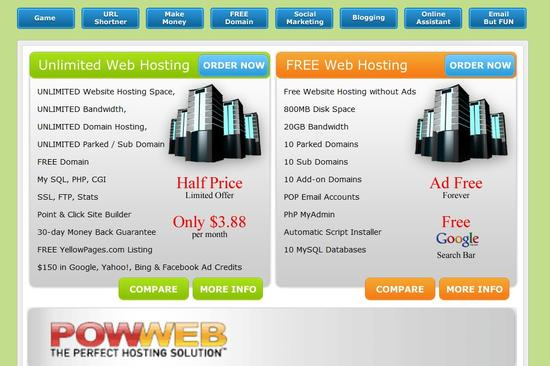 Avail free web hosting no ads services from http://www.40gigs.com/