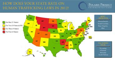 Annual Ratings Map On State Human Trafficking Laws Care - Human trafficking us map