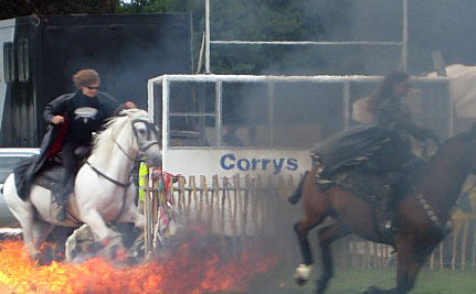 Horses Ridden Through Fire in Spanish Festival