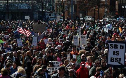 Workers Protest Ohio Gov's Speech (Video)