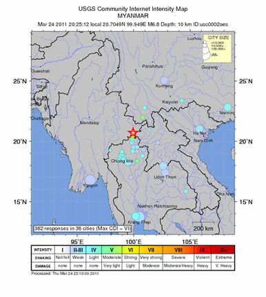 6.8 Quake Shakes Burma