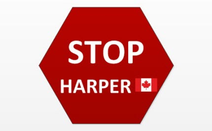 """Parliamentary Page Holds Up """"Stop Harper"""" Sign During Throne Speech"""