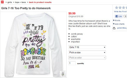 "JC Penney Pulls ""I'm Too Pretty to Do Homework"" T-Shirt after Social Media Uproar"