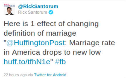 Santorum Blames Gays for Marriage Decline