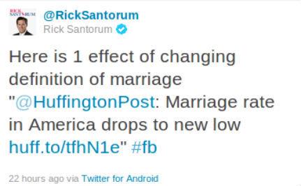 Santorum Blames Gays for Marriage Decline