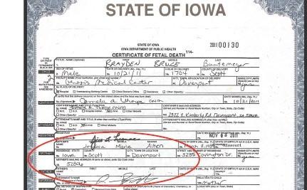 Iowa Erases Mother From Stillborn's Death Certificate