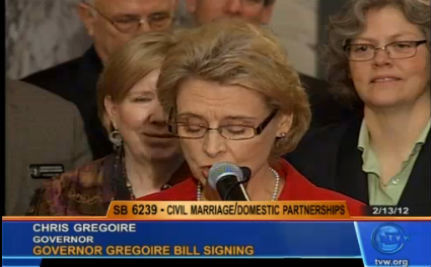 Watch Washington's Gov. Sign Marriage Equality Law (VIDEO)