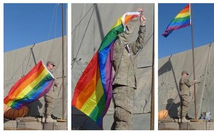 Marine Raises Rainbow Flag in Afghanistan