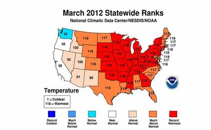 March Breaks U.S. Heat Records, Stunning NOAA Video
