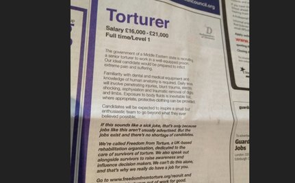 Wanted: Torturer – Join Our Small But Enthusiastic Team