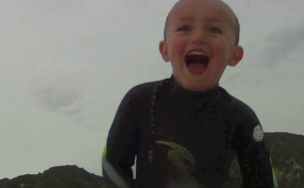 Pure Joy As 2-Year-Old Catches First Wave (Video)