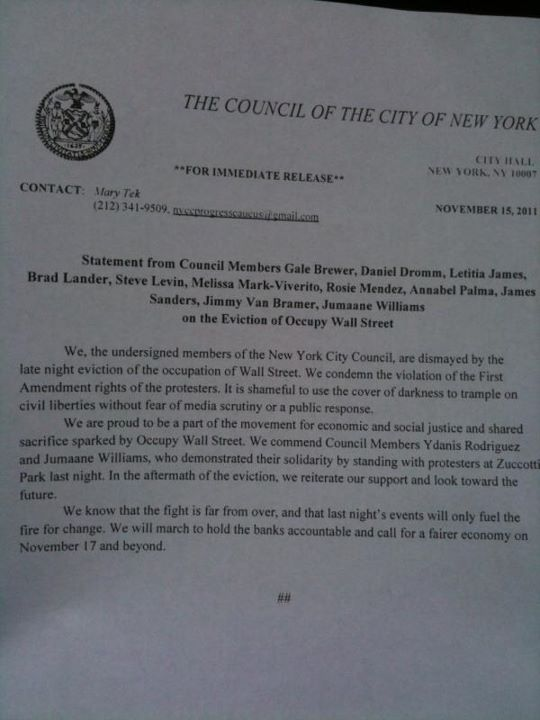 NYC Council condemns OWS eviction