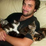 My oldest son James with the kittens.