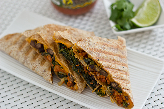 meatless cinco de mayo kale sweet potato quesadillas