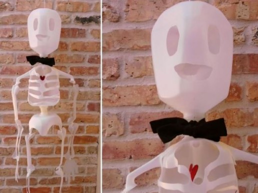 Eco-friendly halloween decorations milk jug skeleton