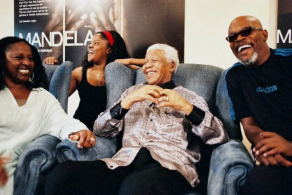 Jackson family with Mandela