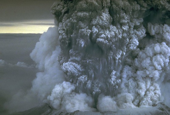 Mount St. Helens erupting in 1980