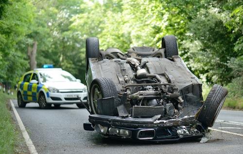 Car flipped over after crash