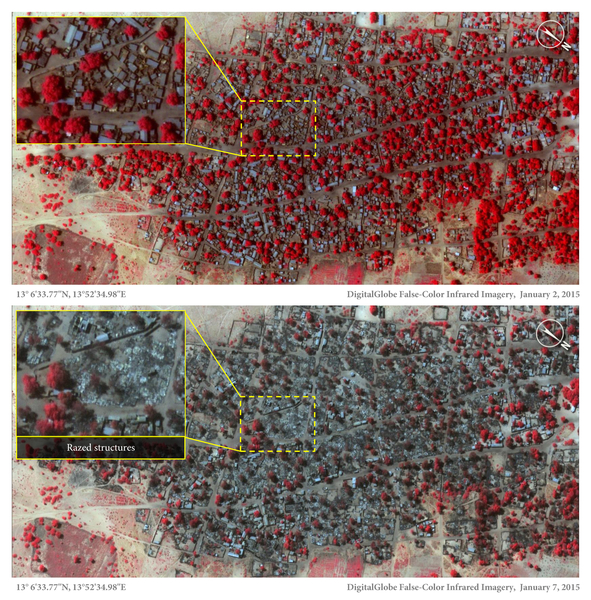 Satellite images of town before and after attacks.